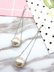 Image of Orecchini pendenti di perline catene avorio perla goccia orecchini donna