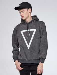Image of Cotone felpa con cappuccio profondo uomo grigio coulisse geometrico stampato Regular Fit Sweatshirt