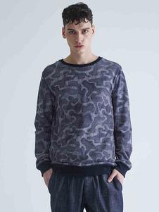 Image of Manica lunga uomo cotone felpa girocollo blu marino scuro taglio Regular Sweatshirt