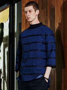 Image of 3/4 di lunghezza manica Regular Fit cotone Top a righe blu Pullover Felpa uomo