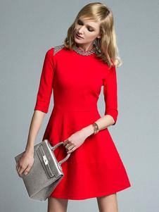 Image of Abbigliamento vintage corto donna con scollo tondo con Zip posteriore mezze maniche perline