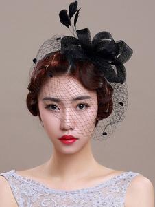 Image of Accessorio per capelli il giorno del fidanzamento nero di lino