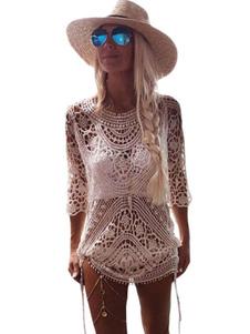Dentelle blanche couvrez-vous col rond longueur 3/4 Sleeve Crochet Backless Boardshorts pure femmes