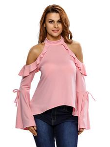 Image of Camicetta rosa collo alto donne manica lunga svasata indietro tagliato a Cascata volant Top Casual Cold Shoulder
