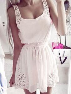 Image of Summer Dress piazza scollatura cinghia senza maniche vita stringa donna arricciato pieghe Mini abito