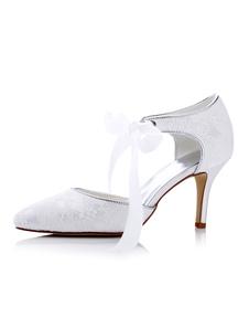 Image of Sposa scarpe tacco alto in pizzo bianco punte Toe scarpe da spos