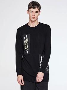 Image of Nero maglia maglione Pullover di maglia uomo girocollo lettere Patchwork
