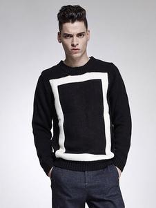 Image of Lavoro a maglia girocollo manica lunga geometrica di Pullover nero maglia uomo