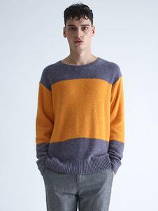 Image of Uomo in maglia a girocollo manica lunga Pullover maglione maglia due tono