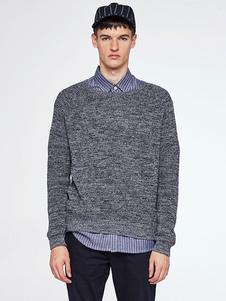 Image of Girocollo manica lunga Regular Fit Pullover maglione maglione maglia uomo blu
