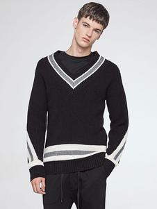Image of Scollo a V Pullover nero maglia uomo maniche lunghe a righe Regular Fit maglione maglia