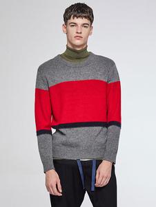 Image of Uomo in maglia a maglia due tono girocollo manica lunga maglione Casual