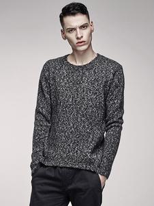 Image of Maglia grigio maglia maglione uomo girocollo manica lunga cotone dal taglio regolare