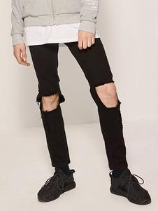 ripped-denim-jeans-black-men-straight-leg-casual-pants