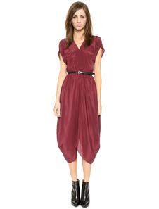 Skater robe V rouge foncé en mousseline de soie col manches courtes irrégulière femmes Flare robe avec ceinture