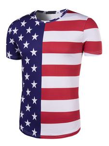 Image of Estate T Shirt uomo rotondo collo manica corta USA bandiera patr