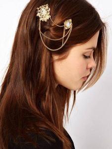 Image of Fermagli per capelli doppia testa boho catene femminile oro capelli accessori