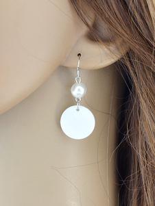 Image of Orecchino argento Bucato orecchini pendenti chic & moderno perle fuori festa in lega d'acciaio donna