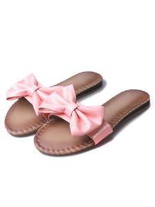 pink-sandal-slippers-women-pu-bow-flat-slippers