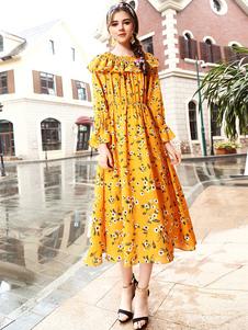 Image of Abito floreale lungo giallo manica lunga con volant da donna per party