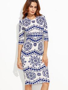 Image of Stampato mezza manica vestito longuette vestito aderente donna