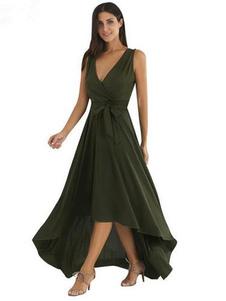Image of V Neck Sash alta bassa maniche abito lungo Maxi abito verde donna