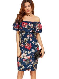 Azul Bodycon Vestido de las mujeres de los volantes impresos florales hombro manga corta vestido de abrigo