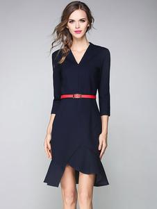 Image of Nero V collo 3/4 di lunghezza manica Bodycon vestito donna in cotone volant alto basso Wrap Abito con cintura