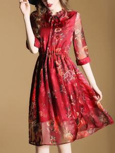 Image of Skater rosso abito in Chiffon colletto decorato mezze maniche Slim Fit Flare abito stampato
