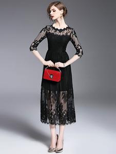 Image of Vestito di girocollo illusione mezza manica Semi Sheer pieghe Midi pizzo nero vestito da donna