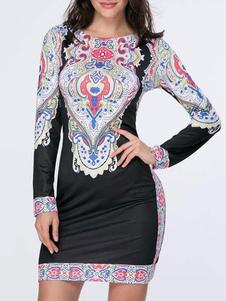 Image of Etico stampato guaina abito donna manica lunga abito Bodycon nero