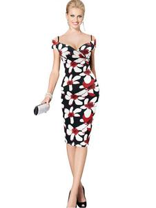 Image of Bodycon vestito floreale nero stampato vestito longuette Sweetheart femminile