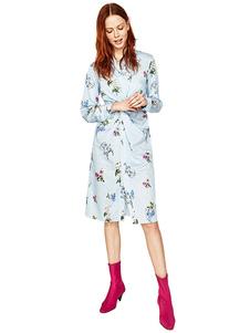 Image of Camicia floreale abito azzurro contorto stampato abito manica lunga donna
