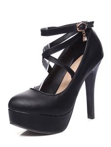 Image of Piattaforma tacchi alti donna Round Toe Stiletto Criss Cross cinturino alla caviglia strass Dettaglio pompa scarpe