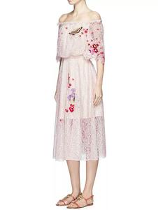 Image of Pizzo rosa donne vestito largo della spalla mezza manica prugna rossa ricamata Vespa vita abito plissettato Midi