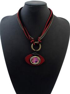 Women`s Red Necklace Ethnic Rhinestones Pendant Necklace