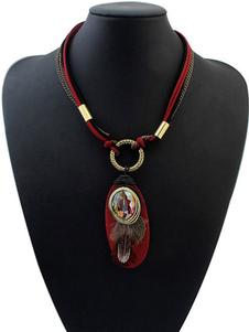 Women`s Red Necklace Ethnic Rhinestones Geometric Pendant Necklace