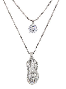 Silver Pendant Necklace Women`s Rhinestones Tiered Long Necklace