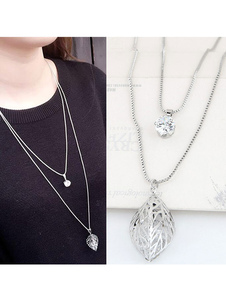 Silver Pendant Necklace Women`s Rhinestones Leaf Shape Long Necklace