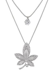 Image of Collana di moda argenta in lega d'acciaio chic & moderna foglie ornato di pietre preziose collana donna