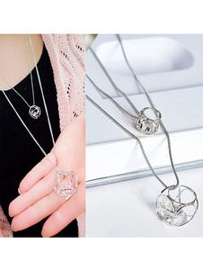 Silver Pendant Necklace Rhinestones Square Shape Tiered Necklace For Women