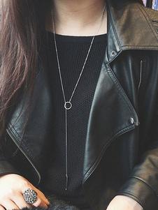 Image of Collana di moda argenta in lega d'acciaio chic & moderna collana donna