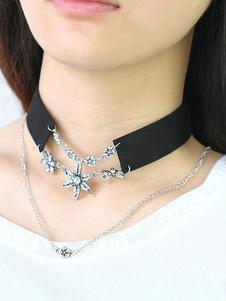 Black Choker Necklace Women`s Rhinestones Beaded Pendant Necklace