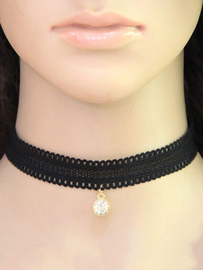 Lace Choker Necklace Black Rhinestone Pendant Women`s Short Necklace