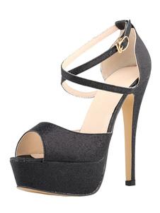 Image of Paillettes Tacchi Sandalo Nero Peep Toe Platform incrociato con fibbia scarpe sandalo per le donne