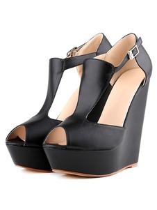 Image of Nero Zeppa Sandali Peep Toe Platform PU con fibbia scarpe sandalo per le donne