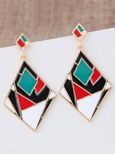 Image of Orecchino di istruzione delle donne di colore blocco reticolo geometrico in lega orecchini Chic