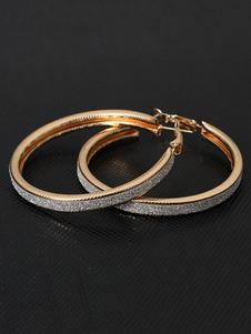 Image of Cerchio d'oro Orecchini boccole glassato lega Chic istruzione orecchini