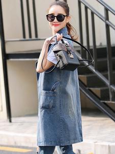 Image of Blu Denim gilet couverture collare gilet senza maniche lunghe giacca donna