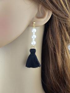 Image of Orecchini di moda fuori chic & moderni perle perle con frange bucato in lega d'acciaio